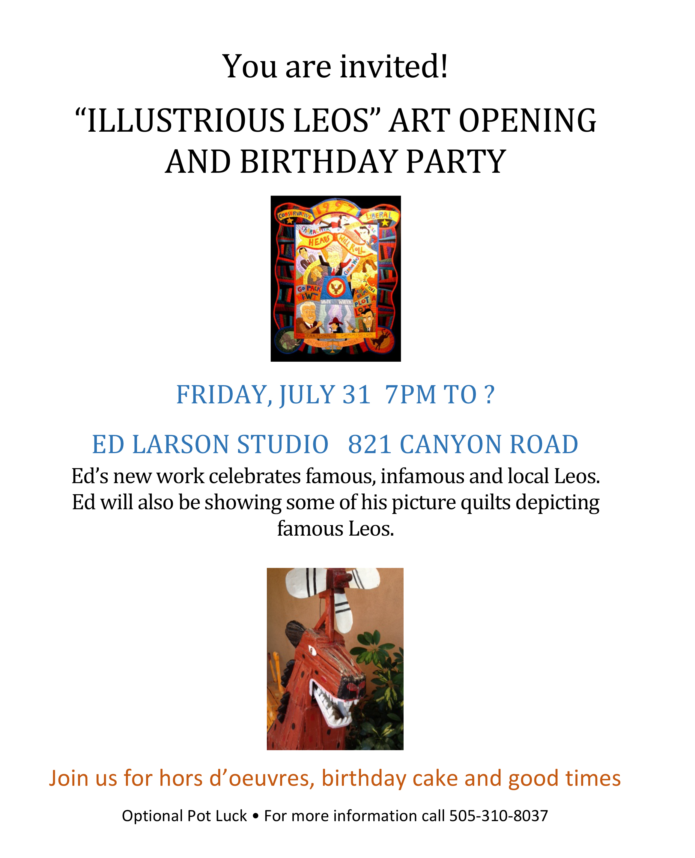 "You are invited! ""Illustrious Leos"" Art Opening and Birthday Party"